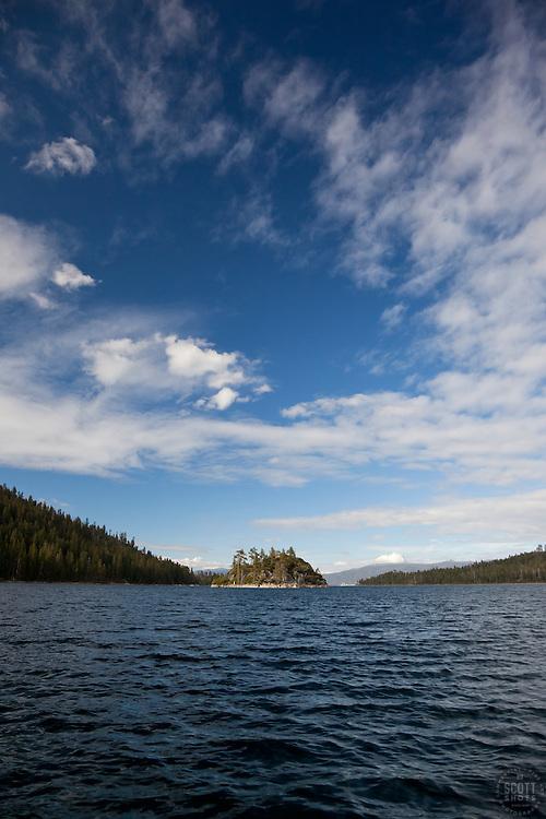 """""""Fannette Island, Lake Tahoe"""" - Tahoe's only island, Fannette Island, was photographed in Emerald Bay, Lake Tahoe, CA."""