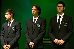 Bojan Jokic, Marko Suler and Bostjan Cesar at official presentation of Slovenian National Football team for World Cup 2010 South Africa, on May 21, 2010 in Congress Center Brdo at Kranj, Slovenia. (Photo by Vid Ponikvar / Sportida)