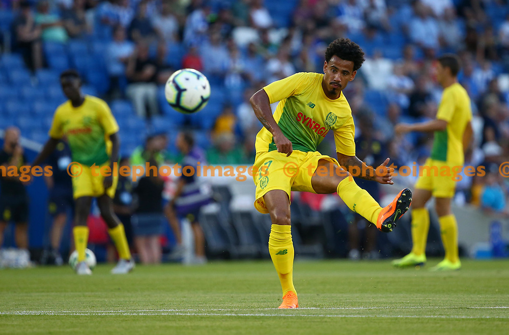 Lucas Evangelista of FC Nantes shoots during the warm up before the pre season friendly between Brighton and Hove Albion and FC Nantes at the American Express Community Stadium in Brighton. 03 Aug 2018