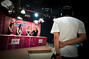 Bangkok November 2013<br /> Every Thursday, Carima Kakhao (on the right) performs a show about Katoey at Thai Vision Channel.  She is the webmaster of the site missladyboys.com. It is a website which is the intersection between all Ladyboys from Thailand and around the world. The project's main purpose is to enable Ladyboys have news, advice on such and such things (Surgery, psychologist, career ...).