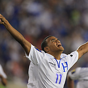 Rony Martínez, Honduras, celebrates after scoring his sides first goal during the Haiti V Honduras CONCACAF Gold Cup group B football match at Red Bull Arena, Harrison, New Jersey. USA. 8th July 2013. Photo Tim Clayton