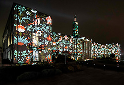 © Licensed to London News Pictures.  10/01/2019.LONDON UK. Waltham Forest Town Hall projected William Morris pattern,Part of this weekends launch of Welcome to the Forest, the first event as part of Waltham Forest London Borough of Culture 2019 year.<br /> Photo credit: Andrew Baker/LNP