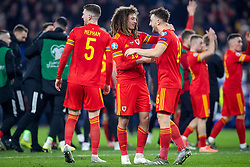 CARDIFF, WALES - Tuesday, November 19, 2019: Wales' Ethan Ampadu and Tom Lockyer after the final UEFA Euro 2020 Qualifying Group E match between Wales and Hungary at the Cardiff City Stadium where Wales won 2-0 and qualified for Euro 2020. (Pic by Laura Malkin/Propaganda)