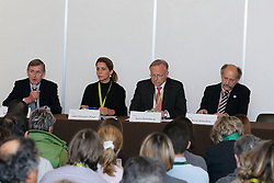 Farrington Paul (GBR) FEI veterinarian, HRH Princess Haya (JOR) FEI President, Holmberg Sven (SWE) FEI vice president, Billardon René (FRA) Foreign judge<br /> Pressconference concerning disqualification of McLain Ward's horse Sapphire due to a positive Hypersensitivity test after the second competion of the Rolex FEI World Cup Final - Geneve 2010<br /> © Dirk Caremans