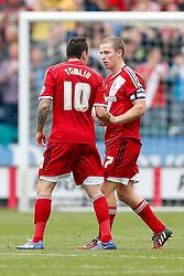 Grant Leadbitter of Middlesbrough celebrates scoring a goal with Lee Tomlin - Photo mandatory by-line: Rogan Thomson/JMP - 07966 386802 - 13/09/2014 - SPORT - FOOTBALL - Huddersfield, England - The John Smith's Stadium - Huddersfield town v Middlesbrough - Sky Bet Championship.