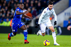 Victor Camarasa of Cardiff City goes past Nampalys Mendy of Leicester City - Mandatory by-line: Robbie Stephenson/JMP - 29/12/2018 - FOOTBALL - King Power Stadium - Leicester, England - Leicester City v Cardiff City - Premier League
