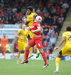 Ellis Harrison of Bristol Rovers is challenged by Connor Essam of Leyton Orient - Mandatory byline: Neil Brookman/JMP - 07966386802 - 29/08/2015 - FOOTBALL - Matchroom Stadium -Leyton,England - Leyton Orient v Bristol Rovers - Sky Bet League Two