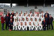 Lancashire County Cricket Club PhotoCall 2017 at Old Trafford, Manchester, England on 31 March 2017. Photo by Craig Galloway.<br /> <br /> Lancashire's squad in the County Championship Whites Kit.<br /> <br /> L-R: (Players only)<br /> Back Row - Jordan Clark, Daniel Lamb, Matthew Parkinson, Saqib Mahmood, Brooke Guest, Josh Bohannon, Rob Jones.<br /> Middle Row - Toby Lester, Jordan Clark, Tom Bailey, Liam Livingstone, Dane Vilas, Arron Lilley, Luke Procter.<br /> Front Row - Stephen Parry, Karl Brown, James Anderson, Steven Croft, Kyle Jarvis, Simon Kerrigan, Haseeb Hameed.