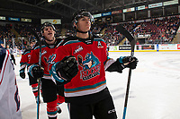 KELOWNA, BC - OCTOBER 2:  Dillon Hamaliuk #22 of the Kelowna Rockets skates to the bench to celebrate a third period goal against the Tri-City Americans  at Prospera Place on October 2, 2019 in Kelowna, Canada. (Photo by Marissa Baecker/Shoot the Breeze)