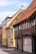 Medieval street in Ribe centre, South Jutland, Denmark