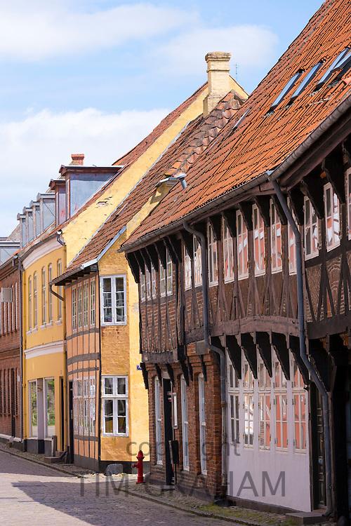 Medieval street in Ribe centre, South Jutland, Denmark