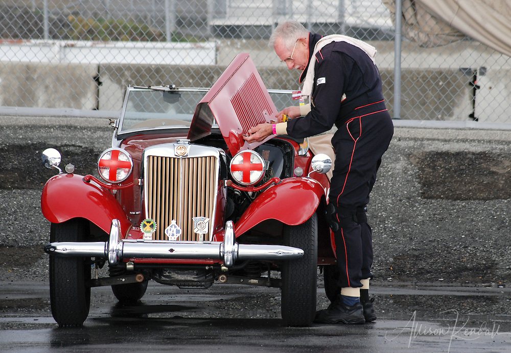 Vintage MG, prepped by driver pre-race at Laguna Seca, Monterey