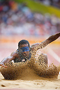 Lex Gillette of the USA in The Bird's Nest National Stadium competeing in the men's long jump F11 final at the Paralympic games, Beijing, China. 15th September 2008