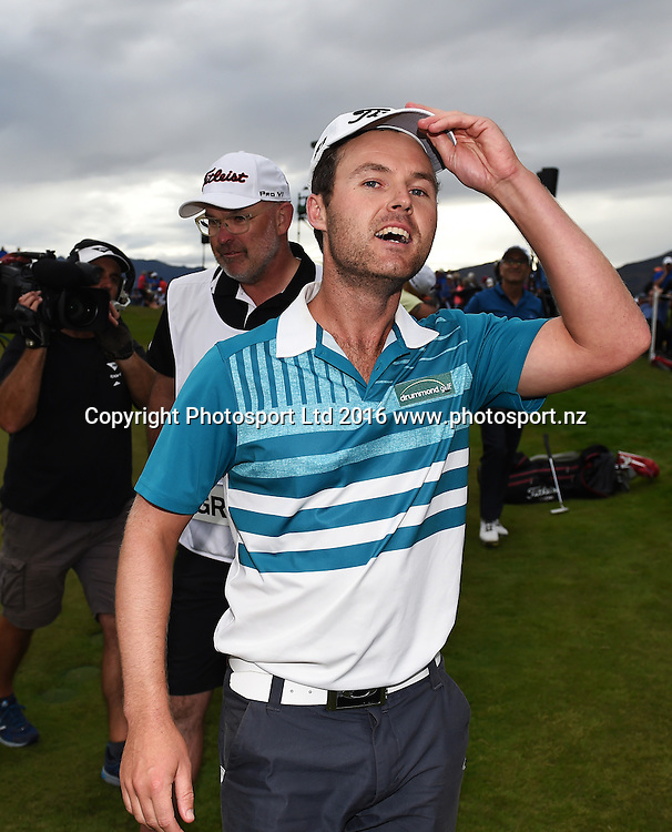 Australia's Matthew Griffin shows his relief after winning the NZ Open at The Hills during 2016 BMW ISPS Handa New Zealand Open. Sunday 13 March 2016. Arrowtown, New Zealand. Copyright photo: Andrew Cornaga / www.photosport.nz