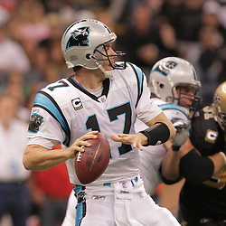 2008 December, 28: Carolina Panthers quarterback Jake Delhomme (17) looks to pass during a week 17 game between NFC South divisional rivals the Carolina Panthers and the New Orleans Saints at the Louisiana Superdome in New Orleans, LA.