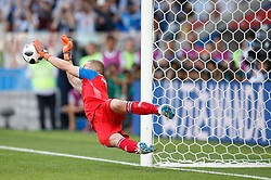 June 16, 2018 - Moscou, Russia - HANNES HALLDORSSON of Iceland defends a penalty charged by Lionel Messi of Argentina during Argentina to Iceland match during first round of group D of the 2018 World Cup, held at the Otkrytie Arena in Moscow, Russia. (Credit Image: © Marcelo Machado De Melo/Fotoarena via ZUMA Press)