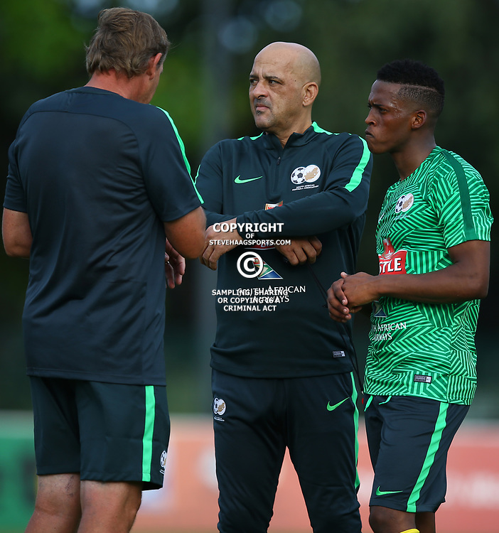 Neil Tovey with Owen Da Gama during the Bafana Bafana Training at People's Park, Moses Mabhida Stadium in Durban,21st March 2017 (Steve Haag)
