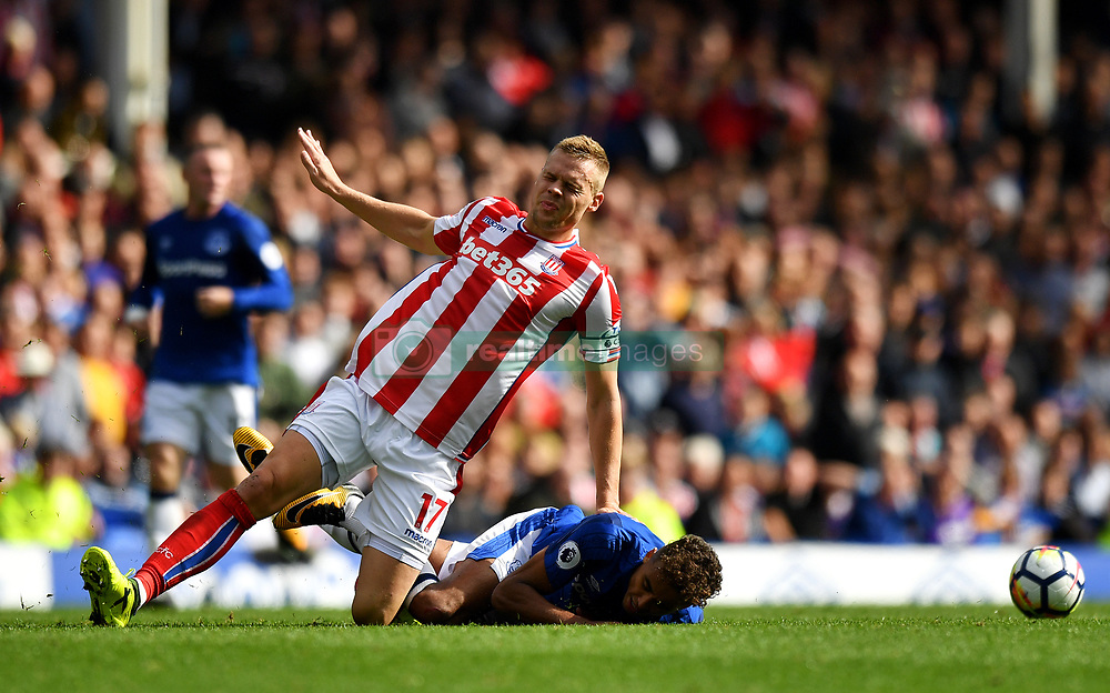 Stoke City's Ryan Shawcross (left) and Everton's Dominic Calvert-Lewin in action during the Premier League match at Goodison Park, Liverpool.