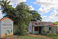 House and farm sign in San Diego de los Banos, Pinar del Rio, Cuba.