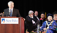 Assemblyman Kevin Cahill, a 1977 SUNY New Paltz graduate, speaks during the installation ceremony for new SUNY New Paltz president Donald P. Christian at Julien J. Studley Theatre on Friday, April 13, 2012. State University of New York Chancellor Nancy Zimpher is at right.