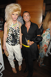 JODIE HARSH and JULIEN MACDONALD at a party hosted by Belvedere Vodka and Jade Jagger to launch The Belvedere Jagger Dagger cocktail held at Automat, Berkeley Street, London on 8th May 2008.<br /> <br /> NON EXCLUSIVE - WORLD RIGHTS ******(EMBARGOED FOR PUBLICATION IN UK MAGAZINES UNTIL 2 MONTHS AFTER CREATE DATE AND TIME)****** www.donfeatures.com  +44 (0) 7092 235465