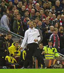 LIVERPOOL, ENGLAND - Thursday, April 14, 2016: Liverpool's manager Jürgen Klopp urges the supporters on against Borussia Dortmund during the UEFA Europa League Quarter-Final 2nd Leg match at Anfield. (Pic by David Rawcliffe/Propaganda)