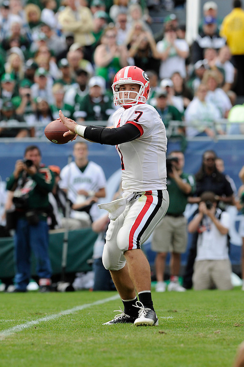 January 1, 2009: Matthew Stafford of the Georgia Bulldogs in action during the NCAA football game between the Michigan State Spartans and the Georgia Bulldogs in the Capital One Bowl. The Bulldogs defeated the Spartans 24-12.
