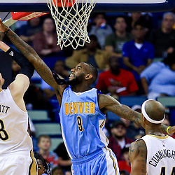 Mar 31, 2016; New Orleans, LA, USA; Denver Nuggets guard JaKarr Sampson (9) blocks a shot by New Orleans Pelicans forward Luke Babbitt (8) during the first quarter of a game at the Smoothie King Center. Mandatory Credit: Derick E. Hingle-USA TODAY Sports