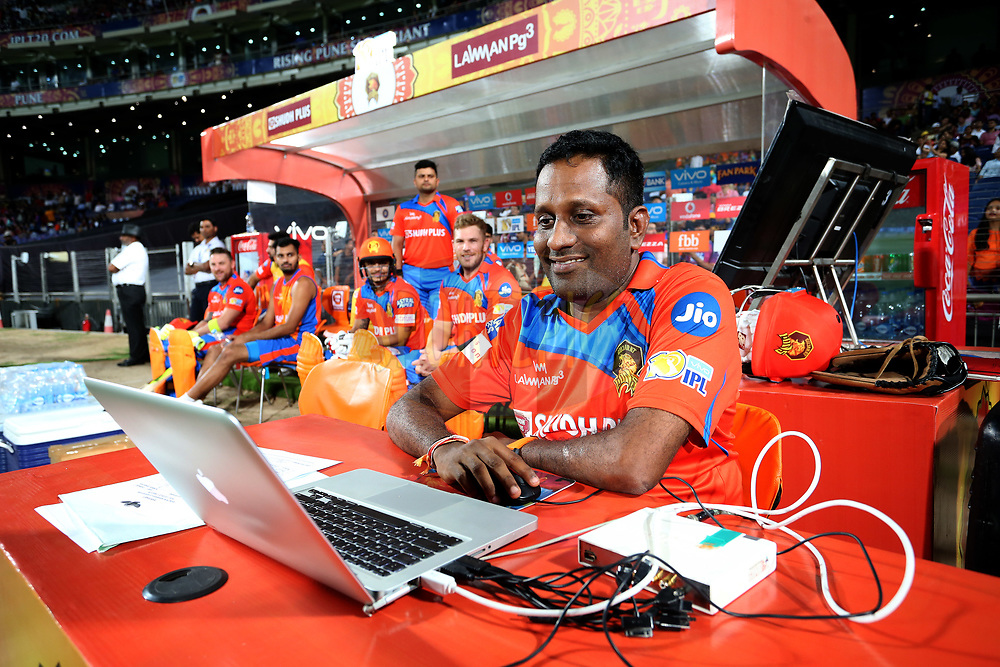Gujarat Lions analyst during match 39 of the Vivo 2017 Indian Premier League between the Rising Pune Supergiants and the Gujarat Lions held at the MCA Pune International Cricket Stadium in Pune, India on the 1st May 2017<br /> <br /> Photo by Shaun Roy - Sportzpics - IPL