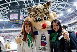 Official mascot Buli and fans during ice-hockey match between Austria and Slovenia at IIHF World Championship DIV. I Group A Slovenia 2012, on April 21, 2012 at SRC Stozice, Ljubljana, Slovenia. (Photo By Matic Klansek Velej / Sportida.com)