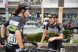 Demi de Jong and Hanna Solovey chat after the Boels Rental Ladies Tour Stage 2 a 132.8 km road race from Eibergen to Arnhem, Netherlands on August 30, 2017. (Photo by Sean Robinson/Velofocus)