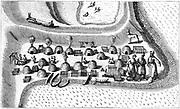 Settlement in Russian Lapland in 1594, showing meat and fish being preserved. After Jan Huyghen van Linschoten 'Voyagie … van by Noorden om langes Noorwegen de Noortcaep, Laplant ….', 1601. Engraving