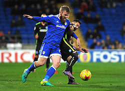 Aron Gunnarsson of Cardiff City competes with Sam Baldock of Brighton & Hove Albion - Mandatory by-line: Nizaam Jones/JMP - 03/12/2016 -  FOOTBALL - Cardiff City Stadium - Cardiff, Wales -  Cardiff City v Brighton and Hove Albion - Sky Bet Championship