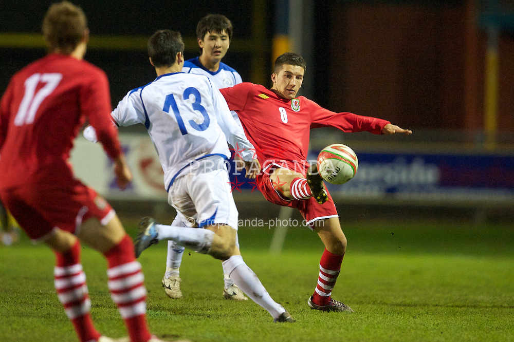 BRIDGEND, WALES - Monday, October 25, 2010: Wales' Lee Lucas in action against Kazakhstan during the UEFA Under-19 Championship Qualifying Group 1 match at Brewery Field. (Pic by: David Rawcliffe/Propaganda)