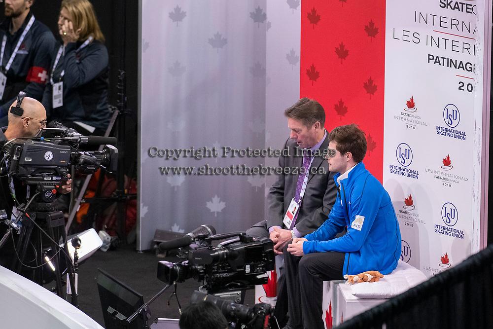 KELOWNA, BC - OCTOBER 26: Australian figure skater Brendan Kerry awaits his score during the men's long program / free skate of Skate Canada International held at Prospera Place on October 26, 2019 in Kelowna, Canada. (Photo by Marissa Baecker/Shoot the Breeze)