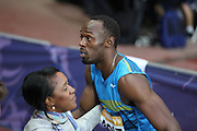 Usain Bolt of Jamaica after  the 100m  heat during the Sainsbury's Anniversary Games at the Queen Elizabeth II Olympic Park, London, United Kingdom on 24 July 2015. Photo by Phil Duncan.