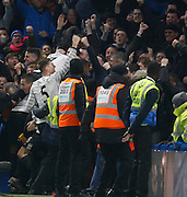 Everton fans celebrate with the fans during the Barclays Premier League match between Chelsea and Everton at Stamford Bridge, London, England on 16 January 2016. Photo by Andy Walter.