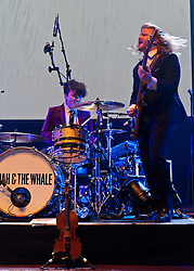 © Licensed to London News Pictures. 16/04/2012. London, UK. Noah and the Whale perform and headline at the Royal Albert Hall.  Noah and the Whale are an English indie-folk band form Twickenham, London, England, formed in 2006.  They have been touring to promote their third album, Last Night on Earth, released in 2011.  Noah and the Whale is fronted by singer/guitarist Charlie Fink.   L to R - Michael Petulla, Matt Owens.  Photo credit : Richard Isaac/LNP