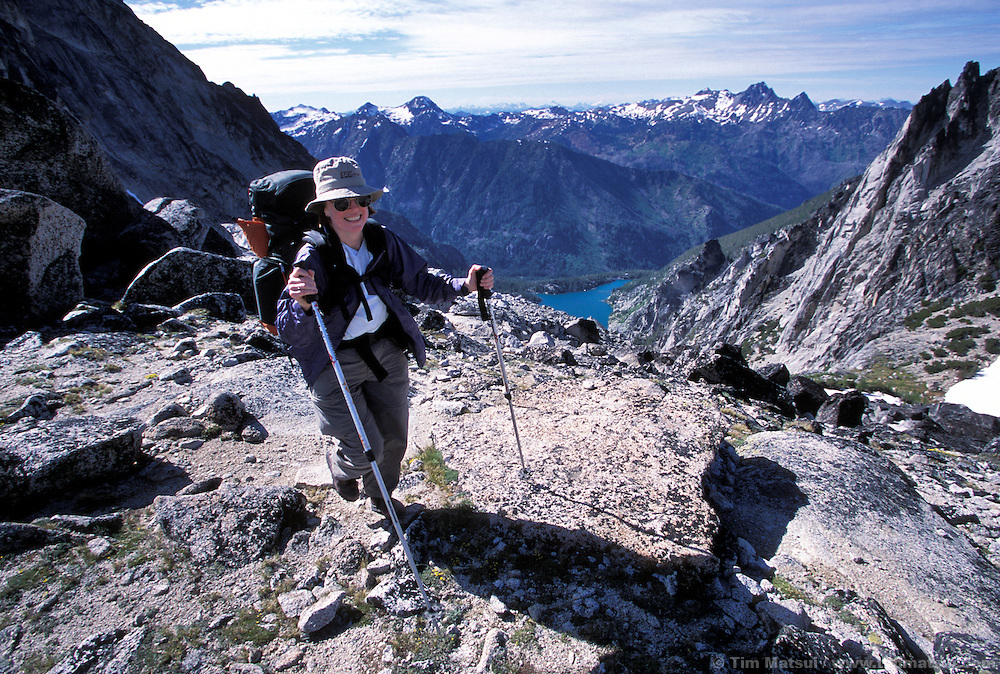 Top of Aasgard Pass with Colchuck Lake down below..