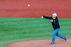 NORMAL, IL - May 01: Honorary first pitch during a college baseball game between the ISU Redbirds and the Indiana State Sycamores on May 01 2019 at Duffy Bass Field in Normal, IL. (Photo by Alan Look)