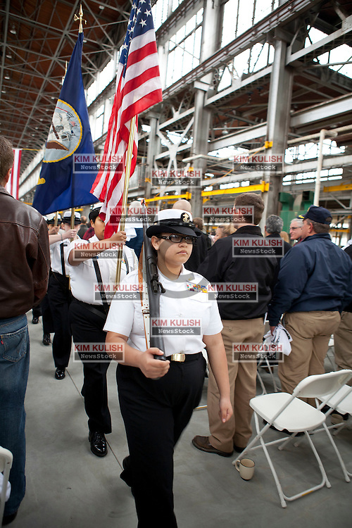 An honor guard joined with the hundreds of attendees from throughout the region to celebrate the official opening of the Allied Defense Recycling, Mare Island Dry Docks.