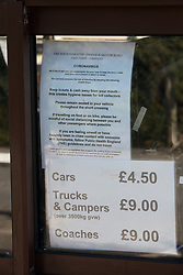 Covid 19 - social distancing notice at Shell Bay to Sandbanks Chain Ferry. A vital service to key workers traveling to Poole/Bournemouth/Christchurch from the Isle of Purbeck Dorset, now withdrawn from service for lack of business owing to coronavirus, causing a 22 mile detour. UK April 2020
