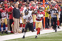 3 February 2013: Wide receiver (81) Anquan Boldin of the Baltimore Ravens catches a pass and runs for a first down before being pushed out of bounds by Chris Culliver of the San Francisco 49ers during the second half of the Ravens 34-31 victory over the 49ers in Superbowl XLVII at the Mercedes-Benz Superdome in New Orleans, LA.