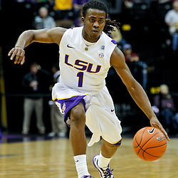 January 2, 2012; Baton Rouge, LA; LSU Tigers guard Anthony Hickey (1) against the Virginia Cavaliers during the first half of a game at the Pete Maravich Assembly Center.  Mandatory Credit: Derick E. Hingle-US PRESSWIRE
