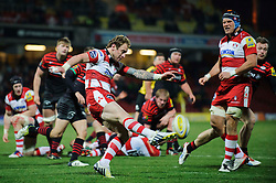 Gloucester Scrum-Half (#9) Jimmy Cowan clears under late pressure from Saracens during the second half of the match - Photo mandatory by-line: Rogan Thomson/JMP - Tel: Mobile: 07966 386802 02/12/2012 - SPORT - RUGBY - Vicarage Road - Watford. Saracens v Gloucester Rugby - Aviva Premiership