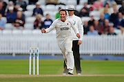 Roelof van der Merwe of Somerset celebrates taking the wicket of Matthew Carter on Nottinghamshire during the Specsavers County Champ Div 1 match between Somerset County Cricket Club and Nottinghamshire County Cricket Club at the Cooper Associates County Ground, Taunton, United Kingdom on 22 September 2016. Photo by Graham Hunt.