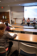 From left to right, Ohio University Alumni Jessica Syverson, Jackie Volkmann and Andrew Anzelmo speak to students about improving job interview skills during the Interview Intelligence event at Copeland Hall on September, 22, 2012. Interview Intelligence was hosted by The Society of Alumni & Friends and CONNECT..Photo by Chris Franz