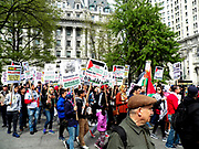 USA-Nakba Day March for Resistance and Return-Rally and March.  The rally began at City Hall Park 17 Park Row, New York, NY, and was followed by a march over the brooklyn bridge for an afternoon of Palestine-focused and family-friendly activities at Cadman Plaza Park.