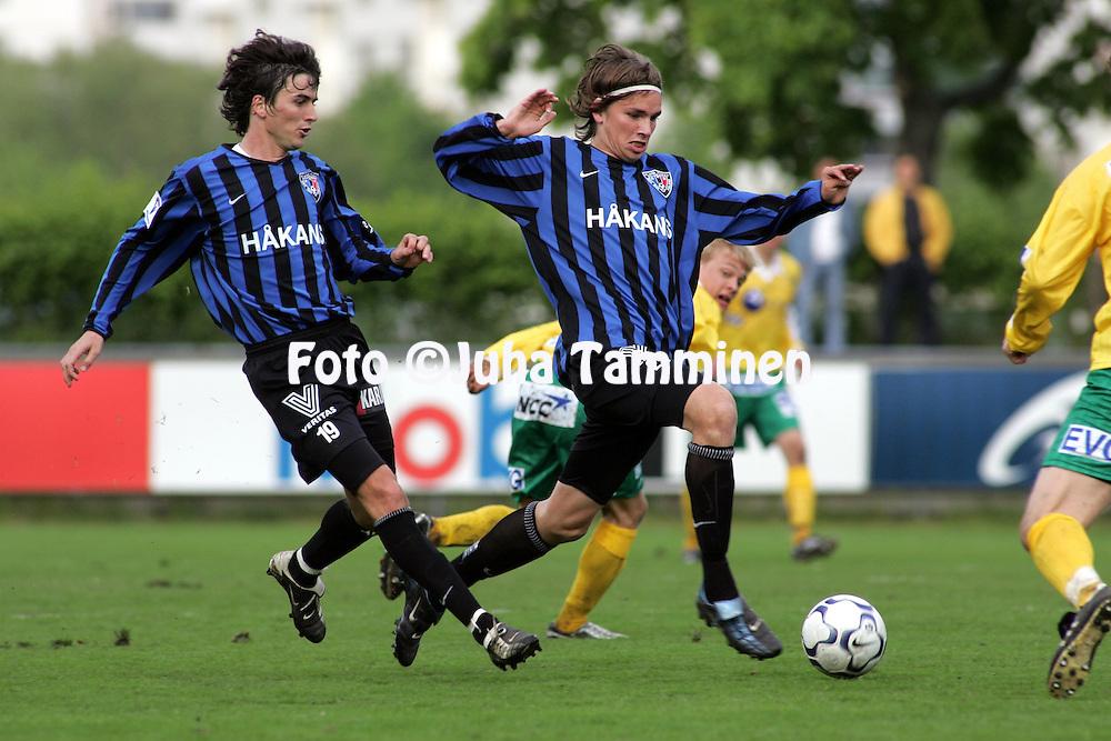 12.06.2005, Veritas Stadion, Turku, Finland..Veikkausliiga 2005 / Finnish League 2005.FC Inter Turku v FC KooTeePee.Aristides Pertot & Joonas Laurikainen - Inter.©Juha Tamminen.....ARK:k