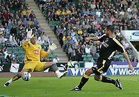 Photo: Lee Earle.<br /> Plymouth Argyle v Cardiff City. Coca Cola Championship. 15/09/2007.Cardiff's Steve Thompson (R) beats Plymouth keeper Luke McCormick to score their second goal.